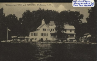 Brightwaters Inn exterior. Text: Brightwaters Inn and Terrace, Wolfeboro, N.H.