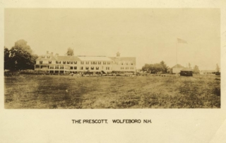 Prescott Inn exterior. Text: The Prescott, Wolfeboro, N.H.
