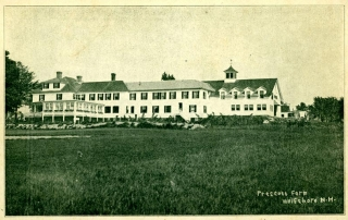 Prescott Farm exterior. Text: Prescott Farm, Wolfeboro, N.H.
